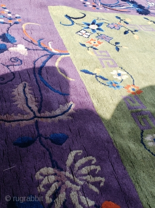 """9'9""""x 14'4"""" Old Chinese rug with a small area of moth grazing, small light tan stain, has recently been cleaned."""