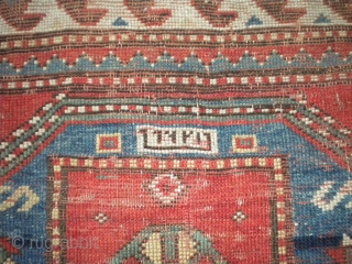 Nice 1890's Russian prayer rug with date woven in.  It's probably a Kazak.  Pile is low and even with foundation showing here and there.  Some of the brown has  ...