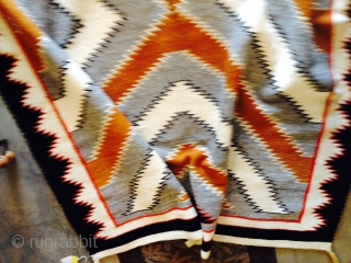 "Measuring 63""x 145.5"", regional vintage Navajo rug in mint condition.  More pics upon request.   Thanks for looking."