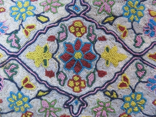 Iran Azerbaijan extreme fine glass beads embroidery with a rug design. Tiny few areas missing beads. Sewn on a silk fabric, ready to put on a wooden frame. Circa early 19th cent.  ...