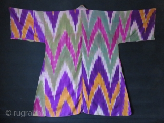 "Uzbekistan - Kuylak - Koynek, silk ikat dress. saturated colors with Cross stitch collar. Circa 1900 or earlier. Size: 66"" arm to arm - 49"" high and 46"" wide at bottom of  ..."