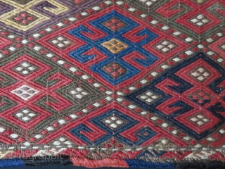 "Azerbaijan extra weft weave Salt bag. Natural colors with original side wrappings. Circa 1900 or earlier. Size:16.1/2"" X 15"""