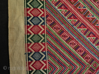 "Balkan fine silk embroidered panel. Some small stains. Size: 114 cm x 40 cm - 16"" x 45"""