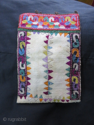 """Turkmen Embroidered bag from Turkmensahra, very fine silk embroidery on twill woven cotton fabric. Size: 8 1/2"""" X 5 1/2"""" // 21 cm X 14 cm"""