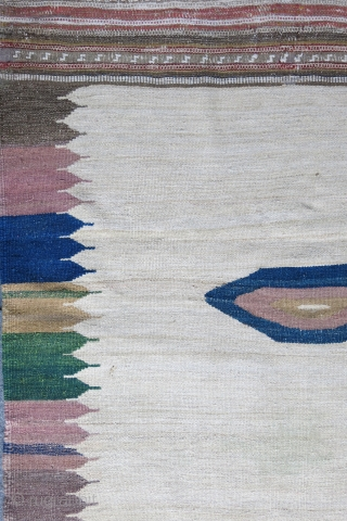 "Iran Komo sofreh, wool on cotton, natural colors.. Circa 1920- 30. Size: 45"" X 42""  - 115 cm X 106 cm"