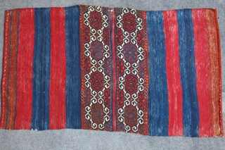 "South Eastern Anatolia- Tribal fine sumak woven grain or clothing bag. Natural colors and never turned in to a chuval. Used as a floor spread, nice patina. Size: 62"" X 35"" -  ..."