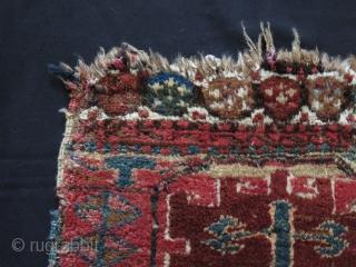Antique Caucasian or Kurdish ? mafrash side panel. Warps are camel hair. Size: 47 cmx 43 cm.