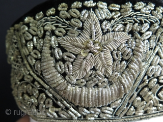 """India or Pakistan silver embroidered hat. Silver embroidery on velvet. Size: 3.5"""" - 9 cm wide and 10.5"""" - 27 cm long and 4"""" - 10 cm high."""