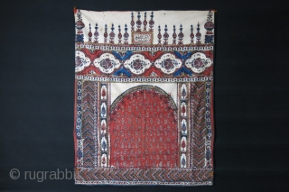 """Persia - Isfahan antique block print with natural colors. Printed cotton baking. Size - 40"""" X 32"""" - 102 cm X 81 cm. Circa 1920s."""