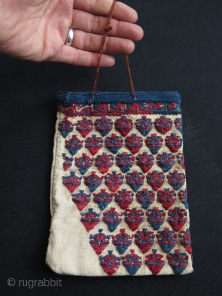 """Greek embroidered small bag. Cotton embroidery on cotton. Holder is fine silk braiding. Circa early 20th century. Size: 6"""" x 8"""" - 15 cm x 20.5 cm."""