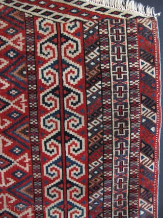 "Turkmen Yomud Salacakh Prayer rug. Circa 1900. Some small old repairs. Size; 41"" x 45"" - 104 cm x 114 cm."