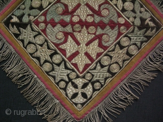 Dagestan fine metallic emroidery on velvet. Made as two pieces and joined together. It is in great condition. It must have being used with care. It is probably used for ceremonial purposes.  ...