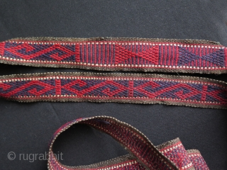 Turkmen Pack Animal Cargo & Tent Band. All wool and natural colors. Circa 1930's. It is in very good condition.