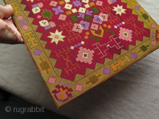 """European very fine silk cross stitch textile. It was a large book cover.  Some very small stains. Circa Early 20th. Century.  Size: 13.1"""" x 16.7"""" - 33.5 cm x 42.5 cm."""