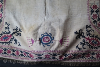 Kyrgyz Horse Cover. Silk embroidery on cotton. Circa late 19th century. Size: Width from top 46″ – 118 cm width from bottom 69″ – 176 cm and height 40″ – 102 cm.