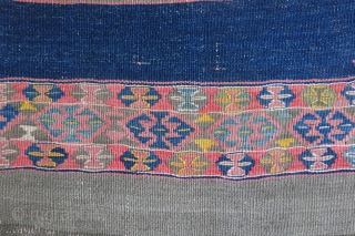 "South eastern Turkey, fine wool Kurdish tribal kilim. natural colors. Some side selvage repairs with couple small holes restored on the field. Circa 1900 - 1920 or ealier. Size : 85"" X  ..."