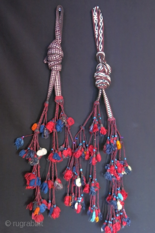 Anatolia Taurus mountains - tribal pair of Turkmen ceremonial tent trapping, finely woven with long tassels and handmade glass beads. Tassels are made from combed wool, angora and few goat hair ones.