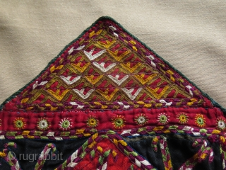 "Turkmen Yomud camel trapping fragment. Fine silk embroidery. Size: 9.8"" x 16"" - 25 cm x 41 cm."