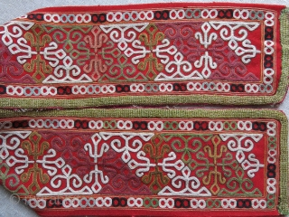 "Chodor silk embroidered chapan fragment. Size: 4.5"" x 30.5"" - 12 cm x 78 cm."