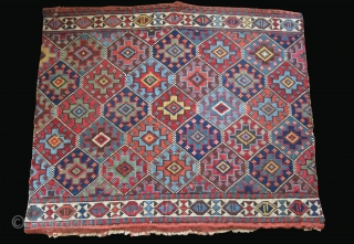 """Shahsavan side Panel - reverse sumak with saturated natural colors. A couple minor wears and can be restored very well before shipping. Late 19th cent. Size : 27"""" X 22"""" - 69  ..."""