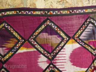 """Uzbekistan embroidered and quilted and patch work horse cover.  Silk tassels. Russian block printed backing.  Size: Width 33"""" - 84 m - 41.3"""" - 105 cm  Height 34.6"""" - 88 cm with tassels  ..."""