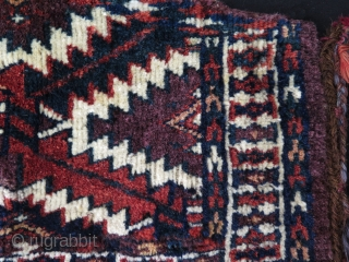 "Turkmen small Yomud asmalyk. Great saturated natural colors. Size: 10.5"" x 19"" - 27 cm x 49 cm."