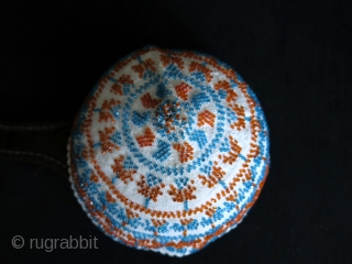 """Syrian - Druze glass beaded hat. Size: 7.2″ - 18.5 cm in diameter and height 4."""" - 11 cm."""
