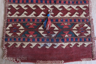 """Anatolian Yuncu kilim travel bag. Has a little stain on lower part. natural dyes and good condition. Circa 1930- 1940s. Size : 16"""" X 13.5"""""""