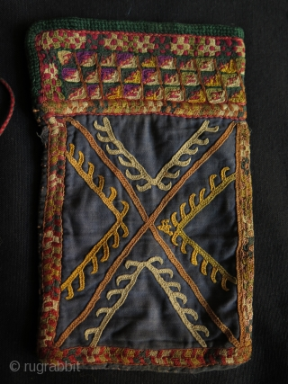 """Turkmen small embroidered pouch. Silk embroidery on cotton. Size: 5"""" x 8.5"""" - 13 cm x 21.5 cm"""