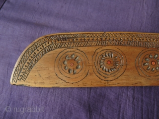 """Antique Anatolian Wood Pack Animal Band Weaving Comb & Knife.   It is all hand carved and great workmanship. It also has a date 1341 which is 1920.  Size: 3"""" x 16"""" - 7.5  ..."""