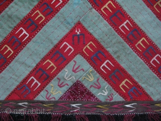 "Turkmen hanging. Silk embroidery on banat. Size:  17"" x 18"" - 43 cm x 46 cm without tassels."