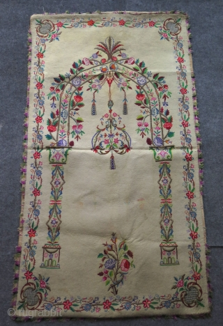 Ottoman felt praying mat. Silk and metal thread embroidered. I have a collection of them if you are interested.