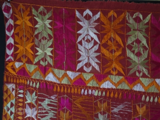 """Phulkari From East India. Silk embroidery on cotton. Size: 55.1"""" -  84.6"""" - 140 x 215 cm."""