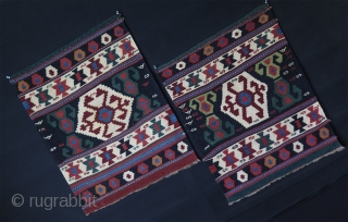 "Shahsavan mafrash side panels. Great saturated colors and condition. Size: 23"" x 29"" - 59 cm x 73 cm."