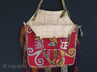 """Uzbekistan Lakai silk embroidered bag. Size: 11.8"""" - 30 cm wide and 14.1"""" - 36 cm high without fringes and straps."""