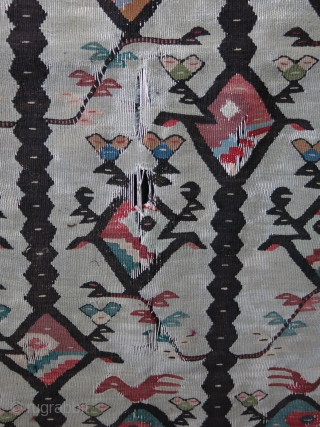 """Balkan kilim. Some worn areas as can be seen on photos. Size 39.3"""" x 114"""" - 100 cm x 290 cm."""