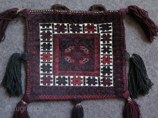 """Baluch double sided pile bag with original tassels. Size of the bag itself is; 14.9"""" x 16.5"""" - 38 cm x 42 cm. Tassels are about 7.8"""" - 20 cm long."""