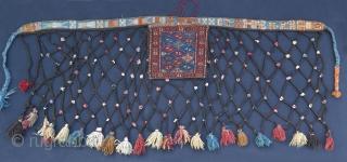 """Kurdish Quchan sumak Qashoqdan & Spoon bag. Net size; 67"""" x 27.5"""" - 170 cm x 70 cm bag itself 12.2"""" x 12.6"""" - 31 cm x 32 cm."""