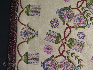Antique Ottoman Praying Felt Rug. Wool, Silk and metallic embroidery on felt. Circa 1900.
