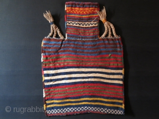 "Qashkai tribal Salt bag - extra weft weave. saturated natural colors.Circa 1900 or earlier. 26"" X 19.5"" - 66 cm X 50 cm"