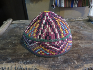 """Turkmen Hat. Some silk and cotton embroidery on cotton base. Height 11 cm - 4.3"""" and in diameters 18 cm - 7"""""""