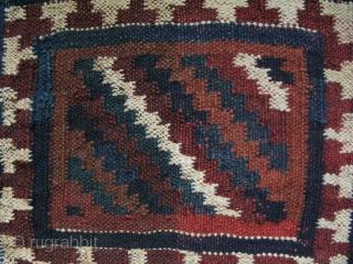 "Persian Bakhtiari chanteh. Shared warp flat weave. Size: 12.2"" x 11.4"" - 31 cm x 29 cm."