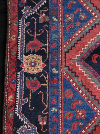 """Persian Bakhtiari tribal rug with Qashkai elements in design in center. Looks like gabbeh style. Saturated natural colors from vegetable dyes. Circa 1900. Size: 4' 2"""" x 7' 2"""" - 127cm x  ..."""