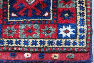 "Western Anatolia - Bergama original bag with full pile and saturated natural colors. Size: 15"" X 15"" - 38 cm X 38 cm"