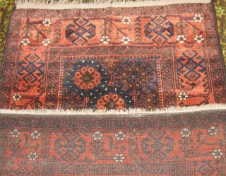 "Baluch rug, deep, rich & lustrous 34 x 63"" mini khani variant. some edge wear along the selvage."