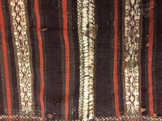 """Antique Balouch Kilim with all good colors including generous amounts of aubergine. Old repairs and wear as seen in photos, otherwise in good condition. Size: 7' X 2'8""""/213 X 81cm. Washed. Buyer pays  ..."""