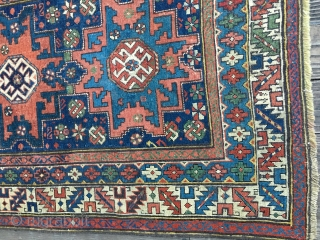 Antique Shirvan Lesghi Star rug, late 19thC. All natural dyes including nice saturated blues and greens. Very good original condition with several 