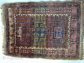 Baluch Balisht, probably late 19th C. In full glossy pile and retaining kilim ends. All natural colors including yellow and aubergine. Size: 36X26in./91X66cm. Buyer pays shipping.