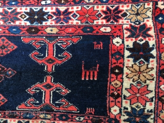 Beautiful Antique Veramin Torba or Mafrash panel. All natural and saturated colors including a brilliant indigo. Soft floppy handle and shiny wool. In full pile but some fraying and small losses to  ...