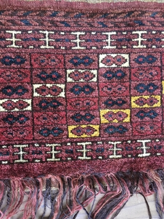 Unique Antique Ersari Turkoman Torba from the late 19th Century. In full pile, including original selvedges and foldover top. Eye catching diagonal design. All natural colors including a brilliant yellow, nice blue  ...